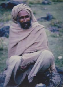 a sadhu (Hindu holy man) in the Himalayas