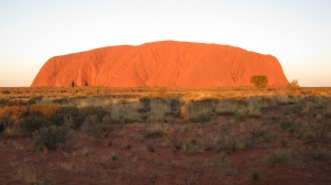 Uluru glowing at sunrise