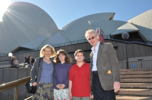 Sheila, Abigail, Jamie & David in front of Sydney Opera House