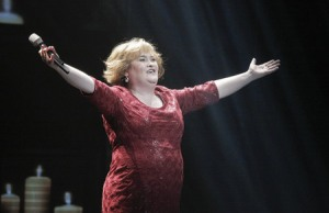 Susan Boyle onstage at the end of I Dreamed a Dream musical