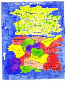 "A map of the imaginary world ""Coneland"" created by Alison & Sheila as children"