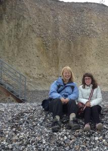 Sheila & Abigail on Birling  Gap Beach (photo credit; Jamie Robinson)