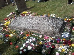 The children's flower cushions on John Clare's grave (photo credit: Abigail Robinson)
