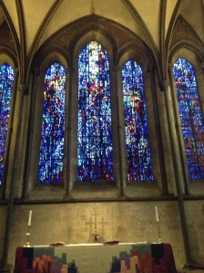 Prisoners of Conscience window in Salisbury Cathedral (designed by Gabriel Loire; dedicated to prisoners of conscience throughout the world. (photo credit Jamie Robinson)