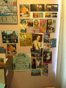 How I integrate art into my own life, on the wall of my writing space (photo credit Jamie Robinson)