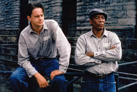 Tim Robbins as Andy Dufresne and Morgan Freeman as  Ellis (Red) Redding in The Shawshank Redemption (1994)