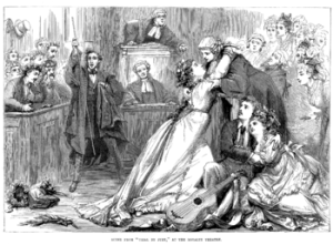 A scene from Trial By Jury as illustrated in the magazine Illustrated Sporting & Dramatic News of 1 May 1875