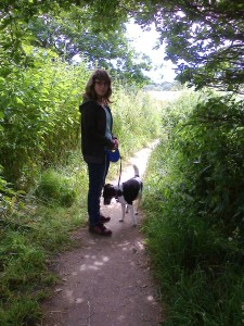 Abigail with Jeni the dog near Old Milverton Churchyard 27 June 2014 (photo taken by SC Skillman)
