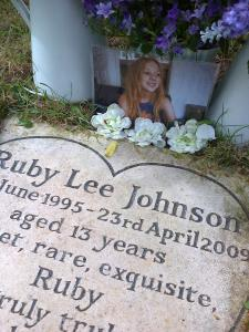 Ruby Johnson's memorial plaque at Old Milverton Churchyard 27 June 2014 (photo taken by SC Skillman)