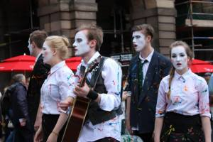 Troupe of actors advertising their show at Edinburgh Fringe - photo credit Abigail Robinson