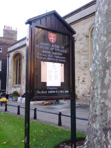 The chapel at the Tower where Anne Boleyn was buried under the altar pavement (photo credit SC Skillman)