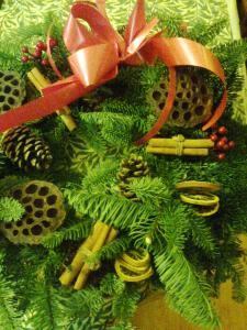 close-up of Christmas wreath