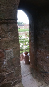 Approaching the steps down into the Elizabethan Garden at Kenilworth Castle