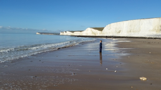 child on beach at Birling Gap 16 Feb 2016