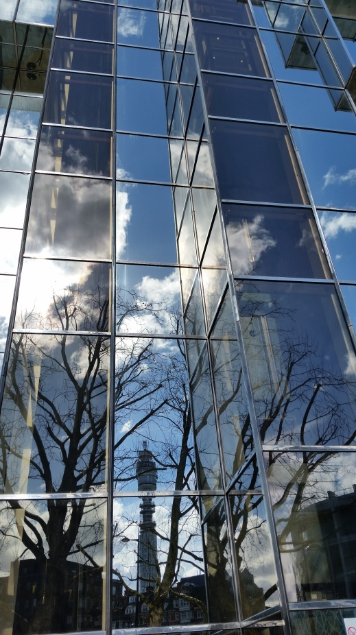 Light or reflective glass building at 250 Euston Road, London