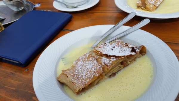 apple strudel in Panorama Restaurant at the top of Wallberg