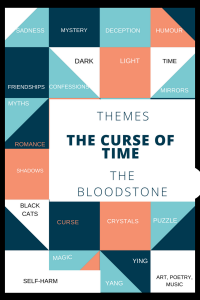 Graphic showing themes in The Curse of Time by MJ Mallon
