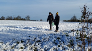 Abigail and Jamie in the snow covered field behind Saxon Mill image 1