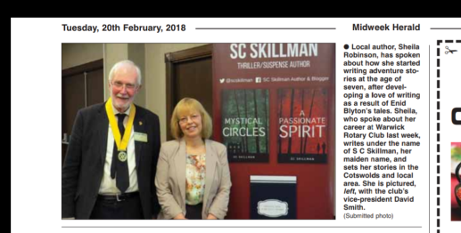 News cutting SC Skillman Stratford Herald 20 Feb 2018