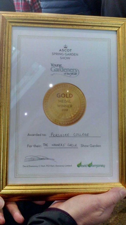 Gold certificate for Pershore College team