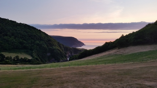 Sunset over Lee Bay, Devon