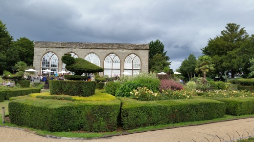 the peacocok garden and orangery at Warwick Castle