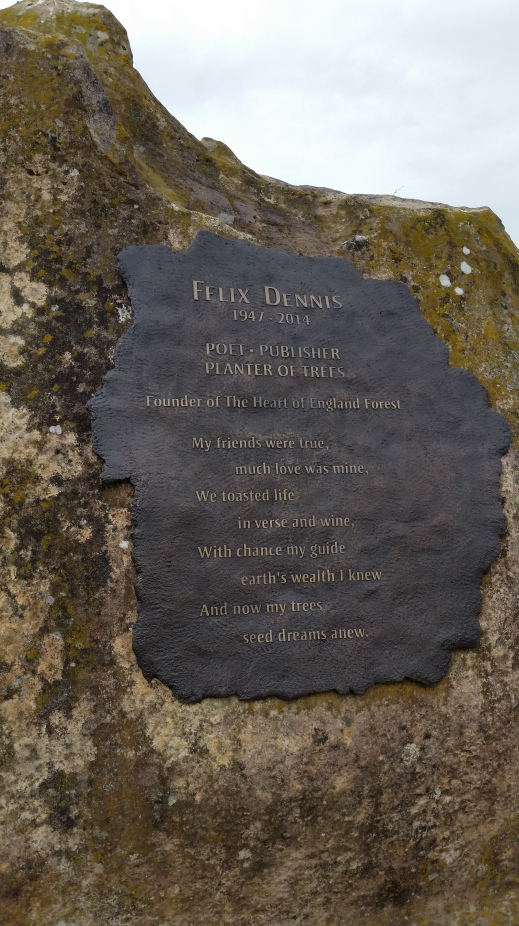 Tribute to Felix Dennis on the Founder's Rock, Arboretum, Dorsington