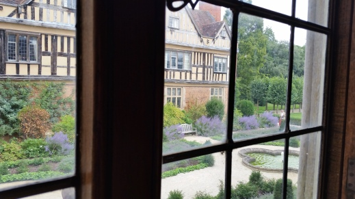 view from window in south wing, onto the garden in the forecourt Coughton Court