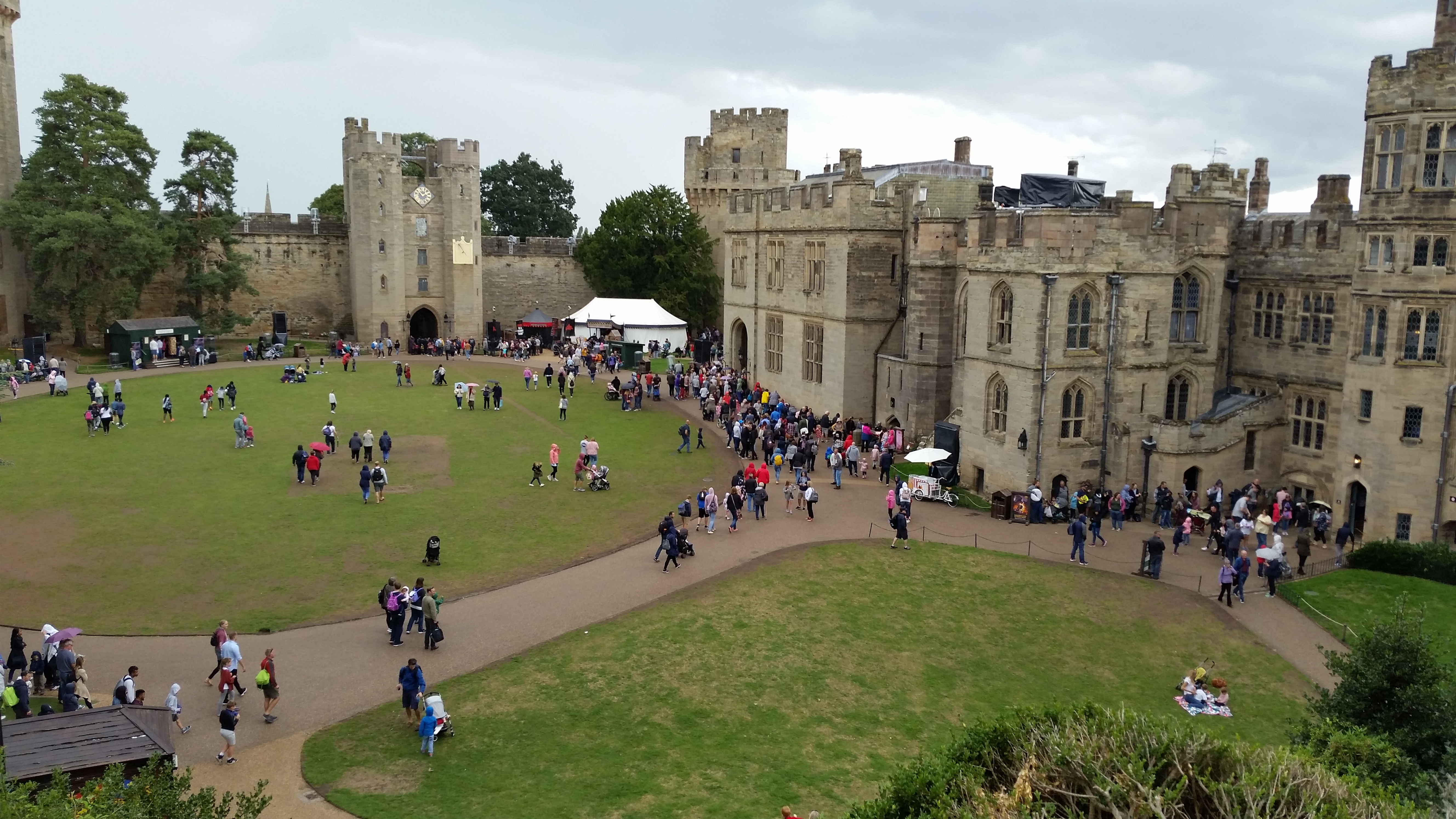 view of the castle courtyard from one of the state rooms at Warwick Castle