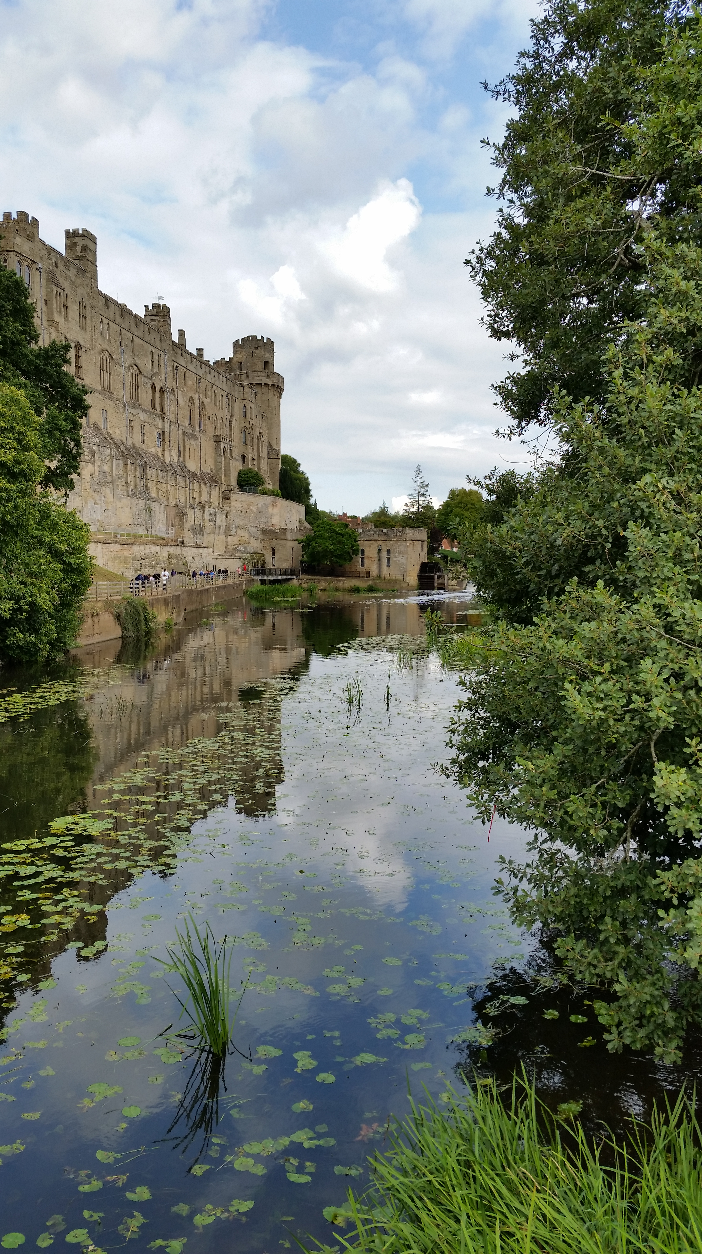view of Warwick Castle from the river island bridge