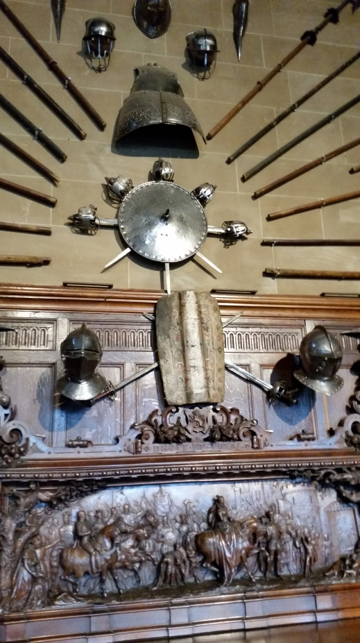 weapon display in the Great Hall at Warwick Castle