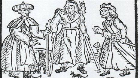 17th century woodcut - poor women demonised by accusations of witchcraft