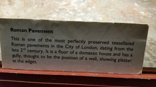 Identifying placard beneath the Roman tessellated pavement, undercroft of All Hallows by the Tower