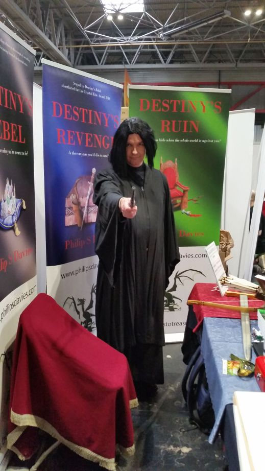 Author in cosplay on Author Stand at the Uk Games Expo 2019