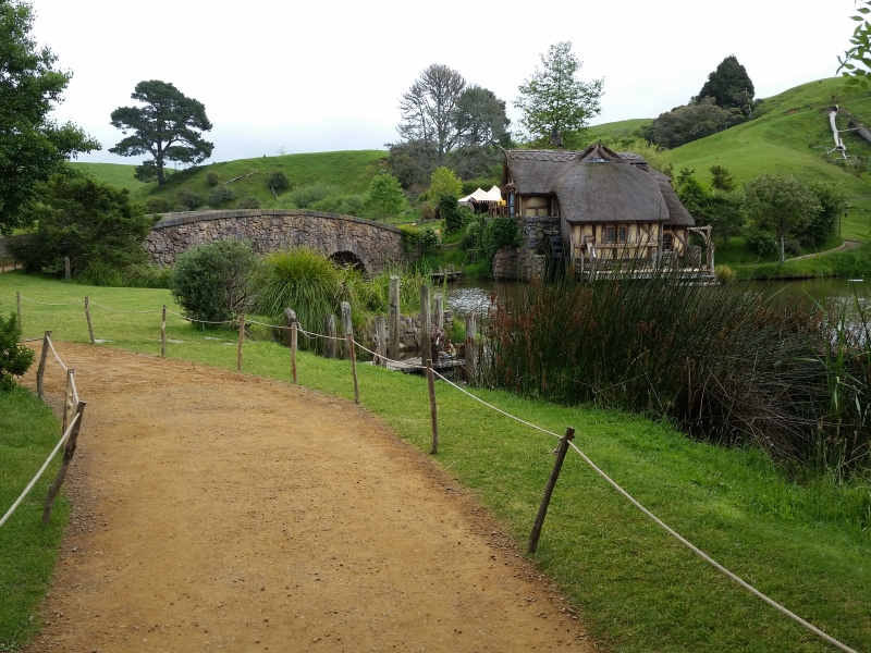 View showing the mill and the bridge at Hobbiton film set