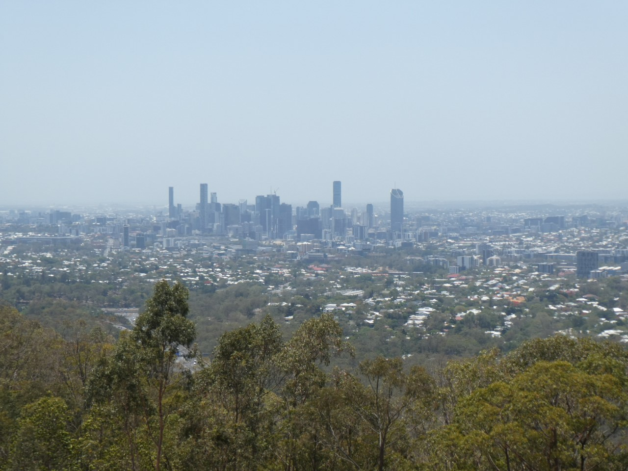 view over Brisbane from Mt Coot-tha Lookout