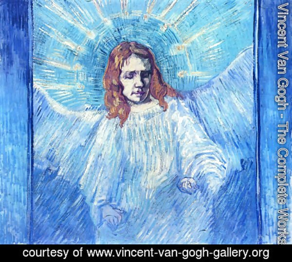 Figure of an angel, painted in blue, with a disturbing facial expression, by Vincent Van Gogh