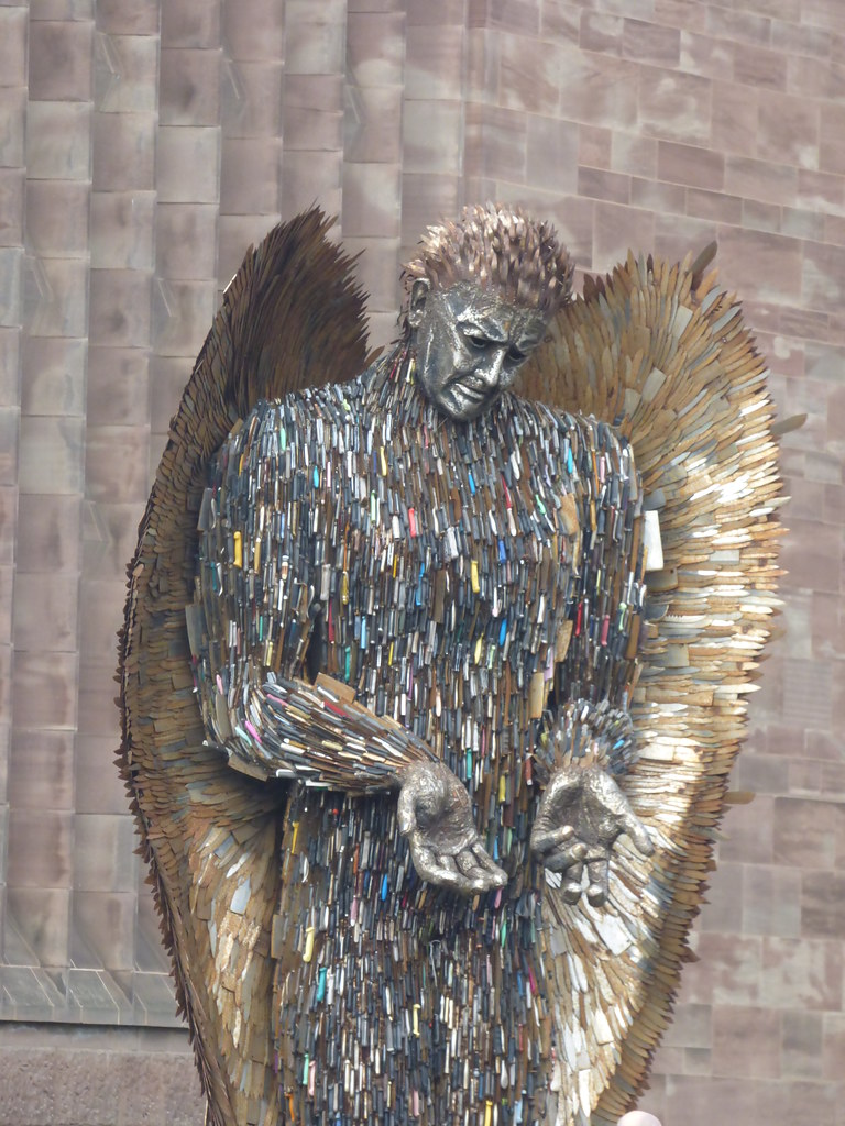 The Knife Angel displayed at Coventry Cathedral in 2019 made of thousands of knives confiscated by police