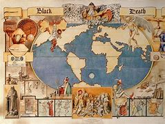 map of the worldwide spread of the Black Death