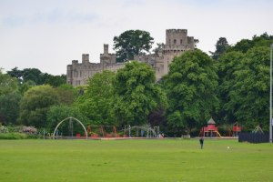 view of castle from St Nicholas Park Warwick