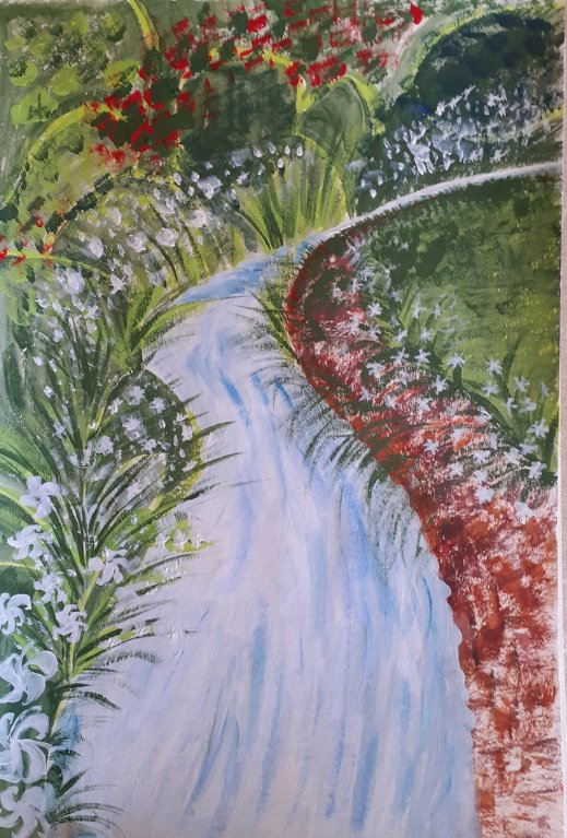 river and garden in acrylic paints SC Skillman lockdown art