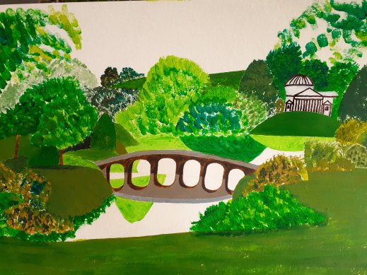 parkland, lake, bridge and temple in acrylic paints SC Skillman lockdown art
