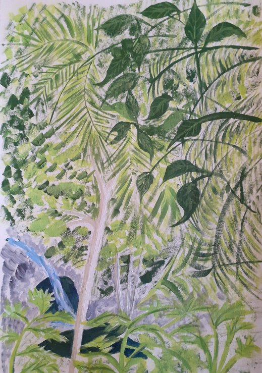 rainforest and waterfall in acrylic paints SC Skillman lockdown art