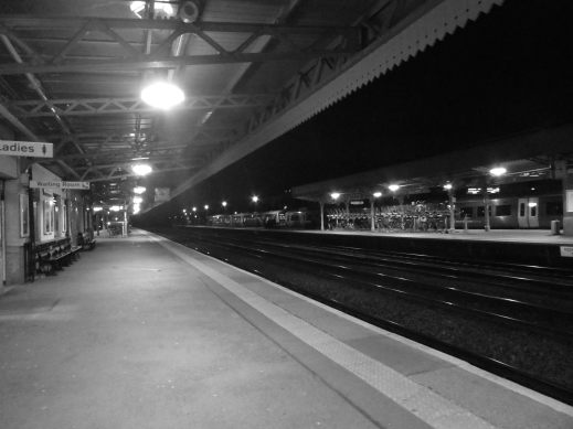 Platform 1 night Leamington Spa railway station photo credit Jamie Robinson Paranormal Warwickshire SC Skillman