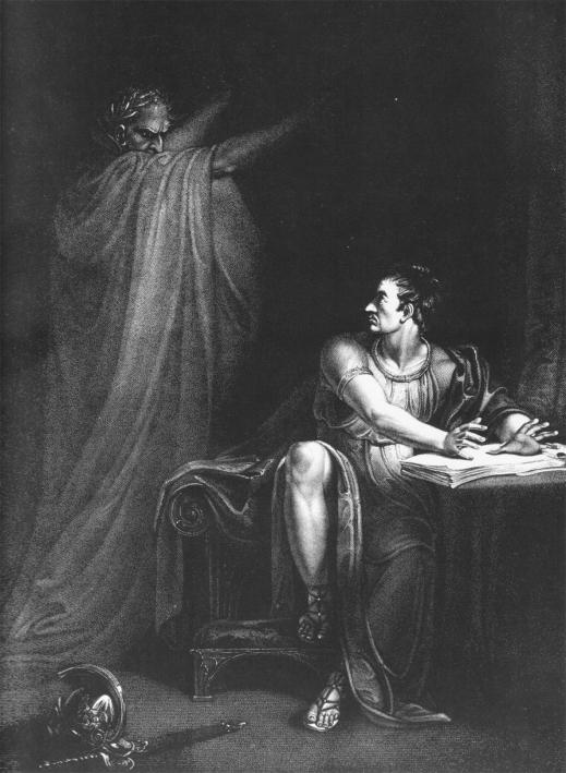 Brutus & Caesar's Ghost 1802 Wikimedia commons Shakespeare Julius Caesar SC Skillman Paranormal Warwickshire