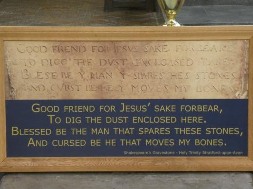 Inscription on Shakespeare's grave Holy Trinity Church Stratford upon Avon