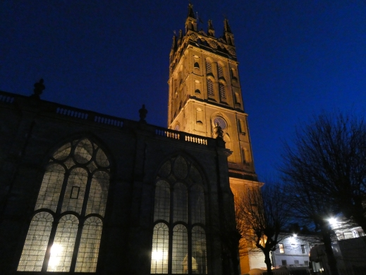 Gothic tower of St Marys Church Warwick at night - photo credit Jamie Robinson Paranormal Warwickshire SC Skillman