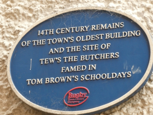 historical plaque Tew's the Butchers 14th century house Rugby Warwickshire