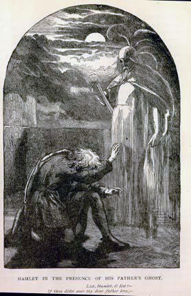 Hamlet and his father's ghost. Shakespeare's Hamlet. Painting by John Gilbert. Image sourced from Wikimedia Commons. SC Skillman Paranormal Warwickshire