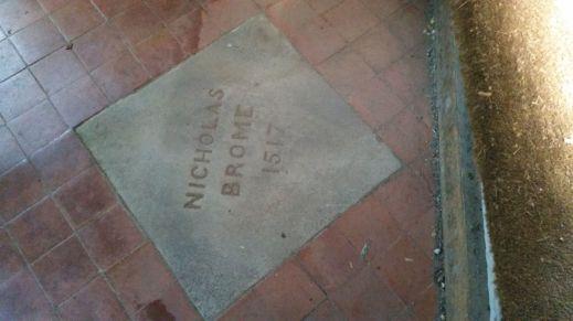 Nicholas Brome under doormat St Michaels Church Baddesley Clinton photo credit Sheila Robinson Paranormal Warwickshire SC Skillman